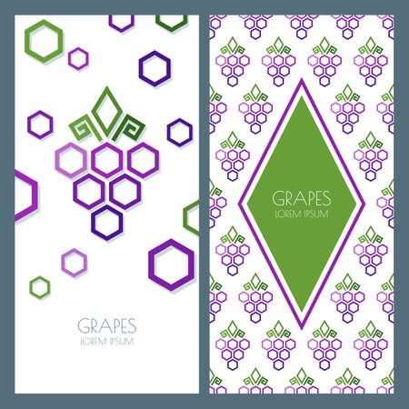 grapes on vine: Vector abstract seamless pattern and background with geometric shape grapes vine made from hexagons. Concept for winery, wine list. Banner, flyer, label, identity design template with copyspace.