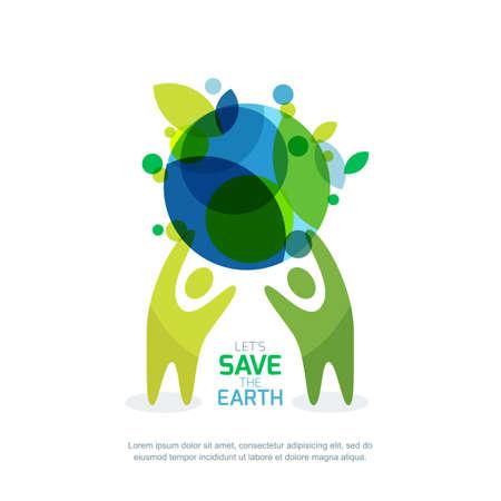 Las personas que sostienen la tierra verde. ilustración abstracta para el día de la tierra en Guardar. Ambiental, ecología, el concepto de protección de la naturaleza.