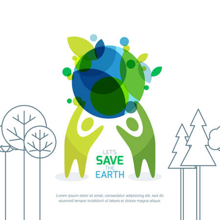 People holding green earth. Abstract background for save earth day. Environmental, ecology, nature protection concept. Banner, poster, flyer design template.  イラスト・ベクター素材