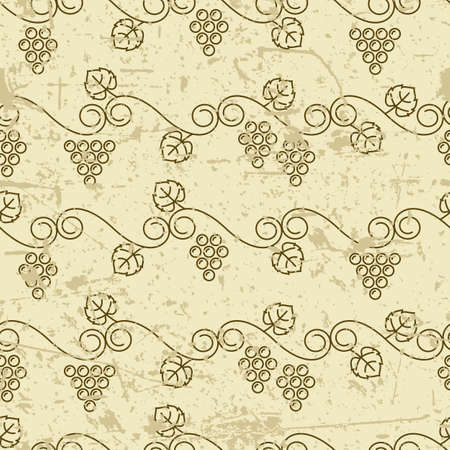 wine grape: Vector old seamless pattern with climbing vine grapes. Linear autumn plants background. Design for print, package, wrapping paper or web. Illustration
