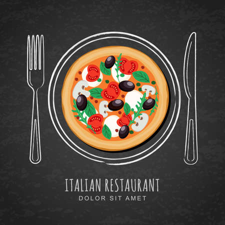 dish: Italian pizza and hand drawing outline watercolor dish, fork and knife on textured black chalkboard background. Vector design for italian restaurant menu, cafe, pizzeria. Fast food background.