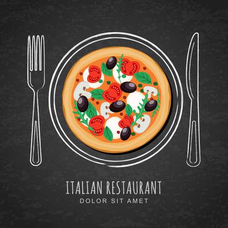 piatto: pizza italiana e disegno a mano contorno piatto acquarello, forchetta e coltello su texture di sfondo nero lavagna. disegno vettoriale per menu del ristorante italiano, bar, pizzeria. sfondo di cibo veloce. Vettoriali