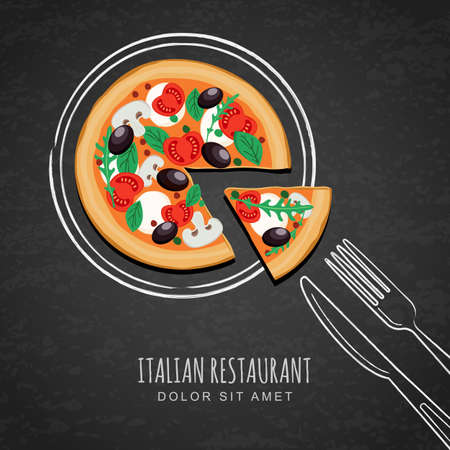 restaurante italiano: pizza y la mano en rodajas dibujo placa de bosquejo de la acuarela, tenedor, cuchillo en la textura de fondo negro pizarra. vector de diseño de menú de un restaurante italiano, cafetería, pizzería. La comida rápida o el fondo de cocción.