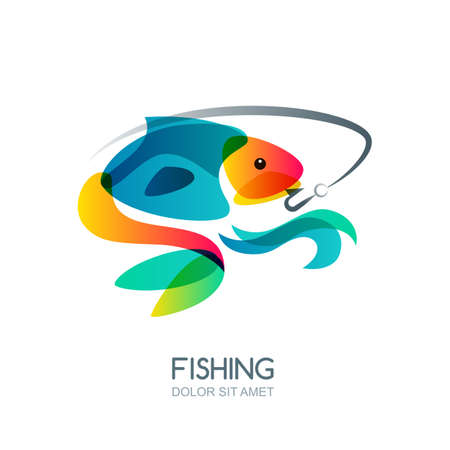catch: Abstract colorful fish and fishing hook. Vector fishing  label, emblem design elements. Trendy isolated illustration.