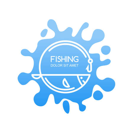 fishing gear: Vector, label or emblem with linear fish, fishing rod on blue water splash background. Design elements for fishing shop, camp or fishing gear.