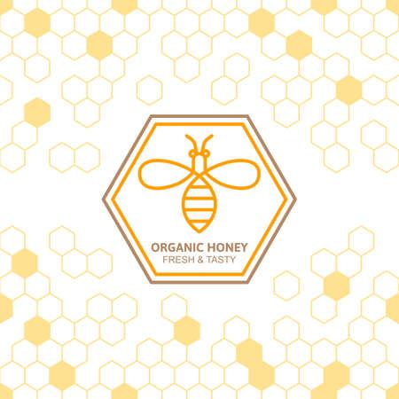 蜂ベクトル記号とハニカムのシームレスな背景を概説します。オーガニック蜂蜜線形ラベル、タグは、要素をデザインします。蜂蜜のパッケージ、バナー、折り返しのコンセプトです。食べ物の背景を抽象化します。 写真素材 - 54790197