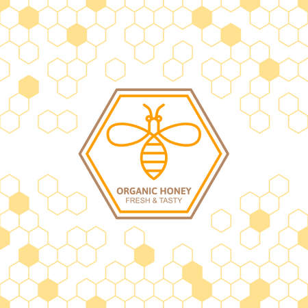 Outline bee vector symbol and seamless background with honeycombs. Organic honey linear label, tags design elements. Concept for honey package, banner, wrapping. Abstract food background. Stock Illustratie