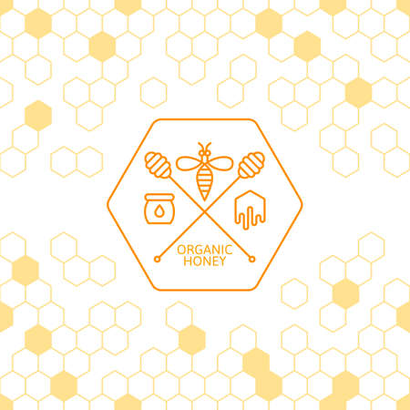 dipper: Honey label, tag, sticker design elements. Vector seamless background with honeycombs. Outline bee and honey dipper symbol. Concept for honey package, banner, wrapping. Abstract background.