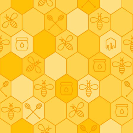 dipper: Vector seamless honey pattern. Outline bees, honeycombs, honey dipper symbol. Simple yellow background. Concept for honey package, label, wrapping.