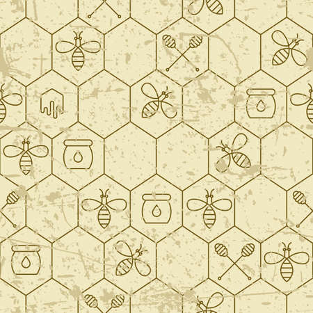 dipper: Vector grunge seamless pattern with linear bees, honeycombs, honey dipper symbol and design elements. Organic honey background. Concept for honey package, label, wrapping.