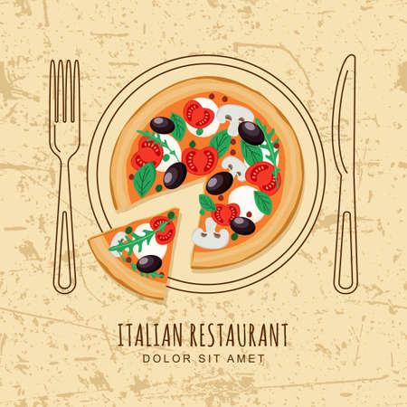 restaurante italiano: Pizza rebanada y el plato de fondo, tenedor y un cuchillo en el fondo del grunge con textura. vector de diseño de menú de un restaurante italiano, cafetería, pizzería. La comida rápida o el fondo de cocción. Vista superior.