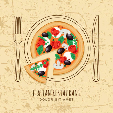 top menu: Sliced pizza and line dish, fork and knife on textured grunge background. Vector design for italian restaurant menu, cafe, pizzeria. Fast food or cooking background. Top view. Illustration