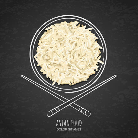white rice: Dish of boiled white rice and chopsticks on grunge black chalkboard background. Top view.  Vector design for asian restaurant menu, cafe, thai, japanese cuisine. Illustration