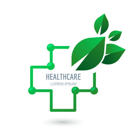 medical symbol: Medical center or pharmacy vector, icon, emblem design. Outline cross and green leaves, abstract symbol. Healthcare and medicine  concept. Illustration