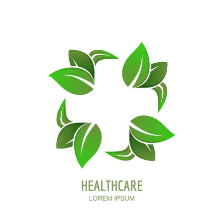 negative space: Medical center or pharmacy vector, icon, emblem design. Cross in negative space of green leaves, abstract isolated symbol. Healthcare, natural care and medicine concept.