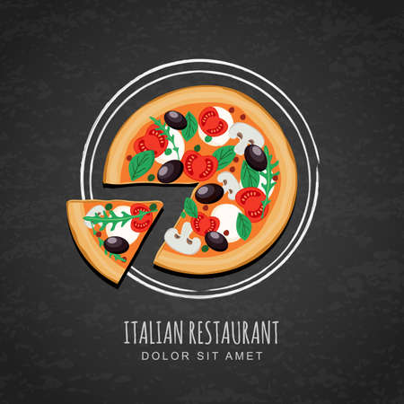 pizza: Sliced pizza and watercolor sketch of plate on grunge black chalkboard background. Vector design for italian restaurant menu, cafe, pizzeria. Fast food or cooking background. Top view.
