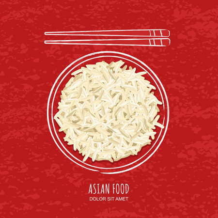 Illustration of boiled white rice in watercolor sketchy dish and chopsticks on grunge red background. Top view.  Vector design for asian restaurant menu, cafe, thai, japanese cuisine. Ilustração