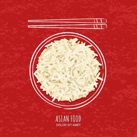 arroz blanco: Ilustración de arroz blanco hervido en acuarela plato esquemática y palillos en el fondo del grunge rojo. Vista superior. vector de diseño para asiática menú de un restaurante, cafetería, cocina japonesa tailandés.