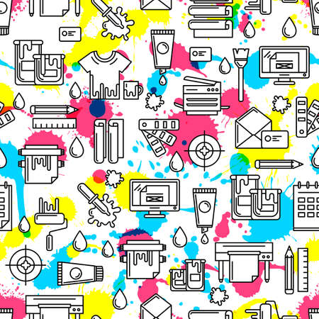 Vector seamless pattern with outline printing icons, watercolor blots and splashes. Abstract watercolor background in cmyk colors. Design concept for copy center, printing service, publishing design. Illustration