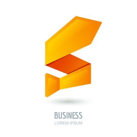 sign orange: Vector, sign design with abstract tie in zigzag shape. Orange arrow up, success symbol. Concept for growth business, investment, consulting, job, career and recruitment. Mens clothes shop.
