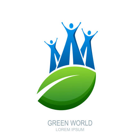 wellness environment: Vector human, icon or emblem design. Abstract people on the big leaf. Green planet symbol. Concept for natural health care, family wellness, ecology, environment and protection nature. Illustration