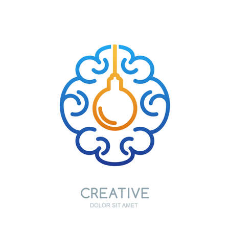 creativity symbol: Vector brain  design. Linear symbol of human brain and  light bulb. Abstract isolated illustration. Design concept for business solutions, high technology, development and innovation, creativity.