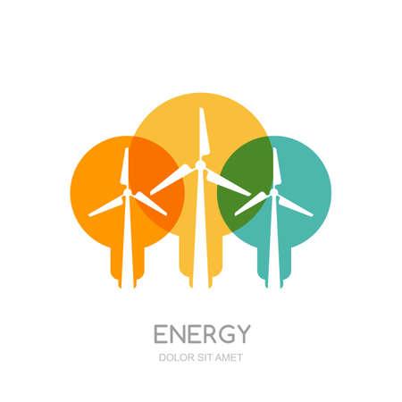 ecosistema: bombillas de luz multicolor y turbinas de viento siluetas, aislados símbolo. vector plantilla de diseño. Molinos de viento y generador de energía alternativa eólica. Medio ambiente, la ecología concepto de negocio. Vectores