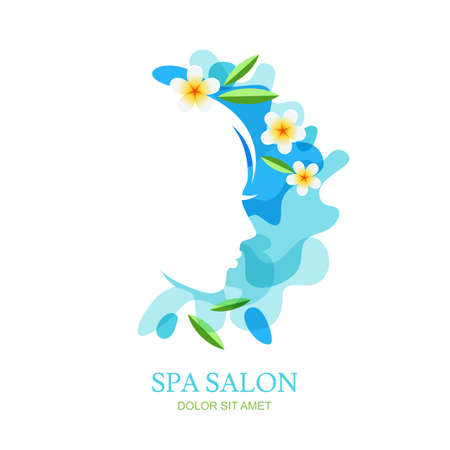 ayurveda: Female profile and plumeria flowers on water splash background. Vector, emblem design elements. Isolated illustration. Concept for spa, ayurveda, beauty salon, natural cosmetics and cosmetology.