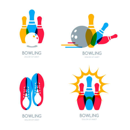ball: Set of vector colorful bowling, icons and symbol. Bowling ball, bowling pins and shoes illustration. Trendy design elements, isolated on white background.