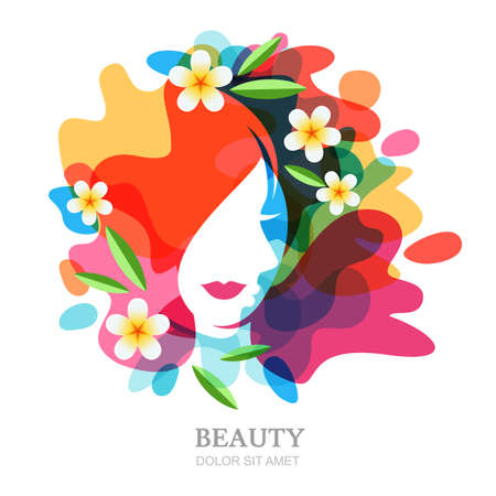 multiple exposure: Female face and plumeria flowers on multicolor splash background. Vector abstract multiple exposure illustration, isolated. Design concept for spa, beauty salon, cosmetics, cosmetology, hairstyle.