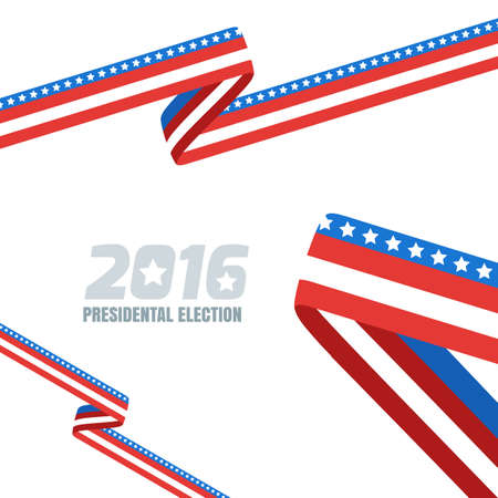 election: Abstract vector background with ribbon in colors of national united states flag. Concept for USA Presidential election 2016. Vote and election banner design template with copy space.
