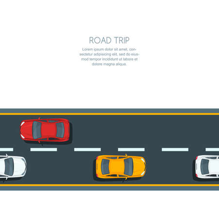 cars on road: Vector horizontal seamless background with road and multicolor cars. Top view illustration of highway with automobiles. Road background with copy space. Street traffic and transport design concept.