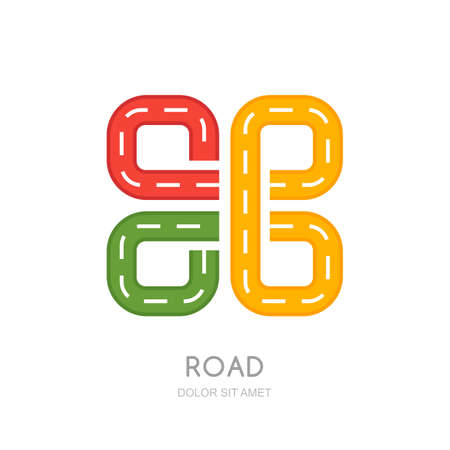 symbol traffic: Vector multicolor road logo, icon design. Abstract isolated road symbol. Traffic, transport or road repair service concept. Maps and navigation illustration. Highway sign.