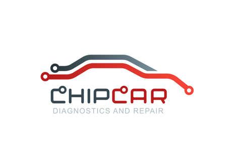 Wektor logo z abstrakcyjnych linii samochód sylwetki. Diagnostyki i naprawy samochodów. Chip samochodowy lub schemat symbol. projekt koncepcyjny do diagnostyki elektroniki samochodowych, płytce drukowanej. Logo