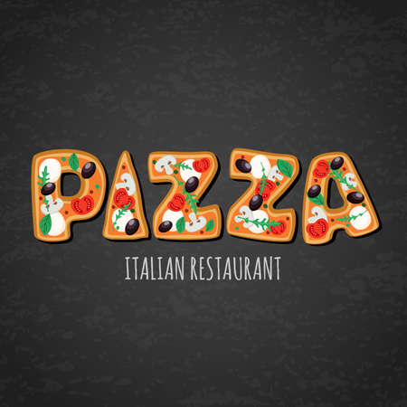 Vector design template for italian restaurant menu, cafe, pizzeria. Letters made from pizza on black chalkboard background. Creative food lettering. Slices of pizza with tomato, olives, mushrooms. Illustration