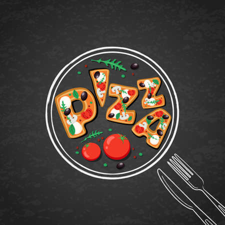 restaurante italiano: vector de diseño de menú de un restaurante italiano, cafetería, pizzería. letras de pizza en fondo negro pizarra. Dibujado a mano cartas de alimentos. Rebanadas de pizza con tomate, aceitunas, champiñones.
