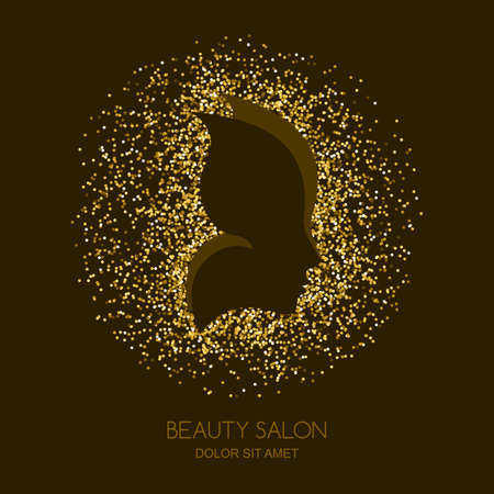 Abstract vector golden background with female face and butterfly wings. Concept for beauty salon, cosmetics, cosmetology and spa. Golden butterfly. Women profile with gold texture background.