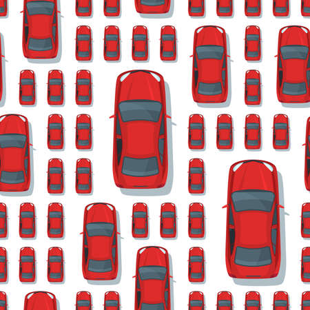 sized: Vector seamless pattern with multi sized red cars. Top view isolated car icons. Street traffic, parking, transport or car repair service concept. Design for print, wrapping, web backgrounds. Illustration