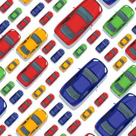 Vector seamless con le automobili multicolori. Vista dall'alto isolato icone auto. traffico stradale, parcheggio, trasporto o riparazione auto concetto di servizio. Design per sfondi di stampa, confezionamento, web.