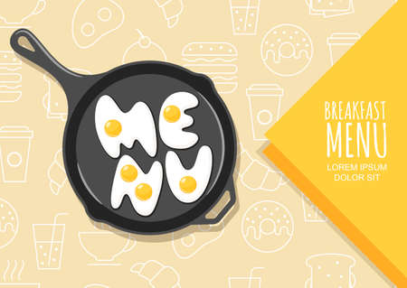 fried food: Vector design elements for banner, flyer, breakfast menu, cafe, restaurant. Letters made from fried eggs on pan. Linear fast food icons and symbols background. Creative food lettering.