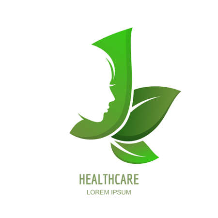 Female face in profile on green leaves background. Vector woman logo, label or emblem design elements.  Abstract concept for beauty salon, massage, cosmetics package, spa, natural healthcare themes.