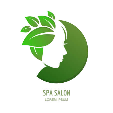 natural face: Female face in circle shape. Woman with green leaves hair. Vector logo, label or emblem design elements.  Abstract concept for beauty salon, massage, cosmetics package, spa, natural healthcare theme.