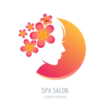natural face: Female face in circle shape. Woman with flowers in hair. Vector beauty floral logo, sign, label design elements. Trendy concept for beauty salon, massage, spa, natural cosmetics.