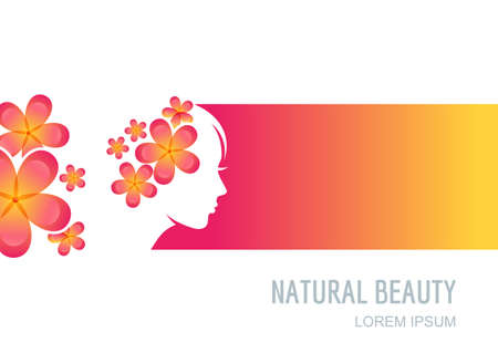 flyer design: Female face on colorful background. Woman with flowers in hair. Vector label, package background, banner, flyer design elements. Trendy concept for beauty salon, massage, spa, natural cosmetics. Illustration