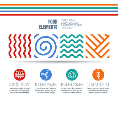 the four elements: Vector infographics design. Four elements abstract linear symbols and alternative energy icons on white background. Template for business, brochure, presentation, environmental and ecology themes.