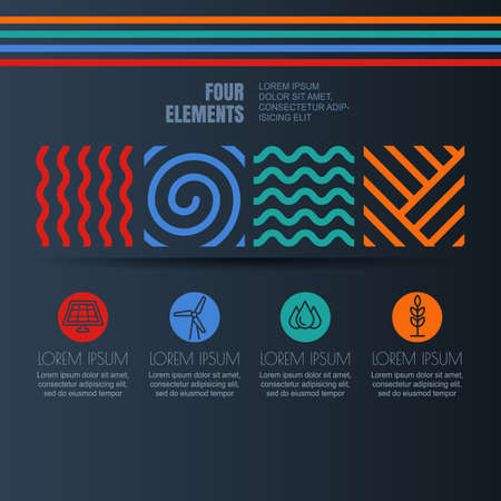 the four elements: Vector infographics design. Four elements abstract linear symbols and alternative energy icons on black background. Template for business, brochure, presentation, environmental and ecology themes.