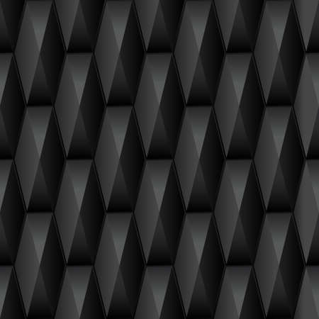 interior decor: Seamless geometric 3d pattern. Abstract black 3d background with polygonal tiles. Vector illustration.