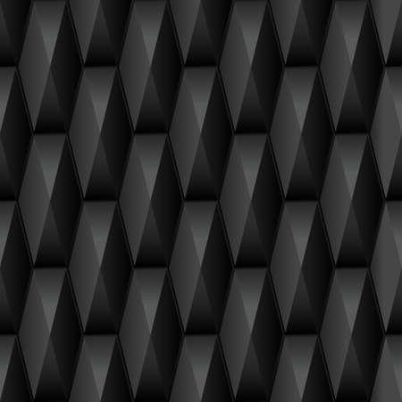 diamante negro: Sin patrón geométrico 3D. Resumen de fondo 3d negro con azulejos poligonales. Ilustración del vector.
