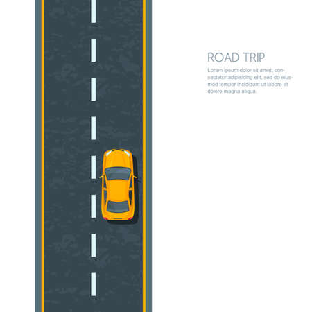 Vector illustration of highway and moving yellow car. Isolated road and automobile, top view. Road background with copy space. Street traffic and transport design concept.