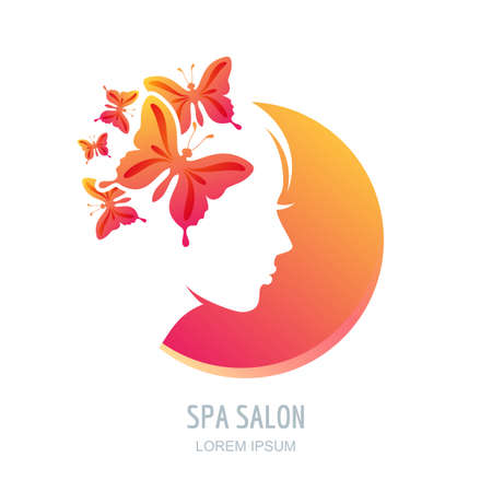 beauty icon: Female face in circle shape. Woman with butterflies in hair. Vector beauty floral logo, sign, label design elements. Trendy concept for beauty salon, massage, spa, natural cosmetics.
